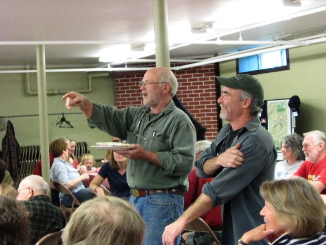 """Roger Lambert and Milt Baston at the HPA 2nd annual """"Moose Spaghetti Supper and World Famous Pie Auction."""""""