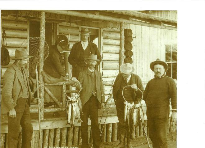 Fly Rod Crosby (on the porch) pictured with President Theodore Rosevelt - courtesy of Roger Lambert